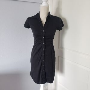 Theory button down black dress short sleeves